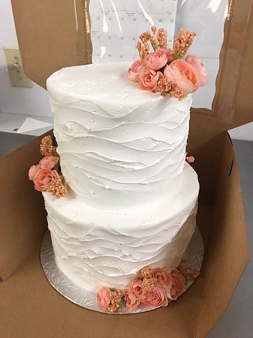 2 tier peach flowers wavy rustic comb