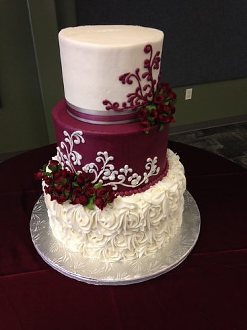 3 tier buttercream rosette and maroon with scrolls