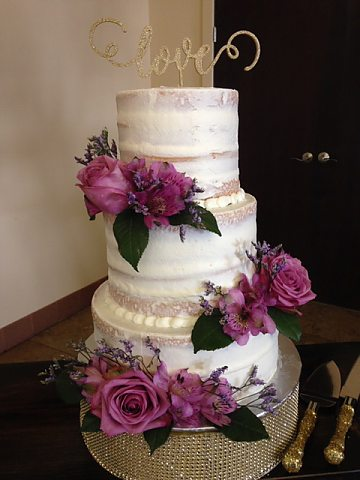 3 tier semi-naked with lavender roses