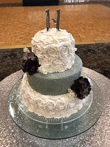 3 tier silver sugar and rosette