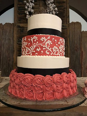 4 tier coral rosettes and scroll