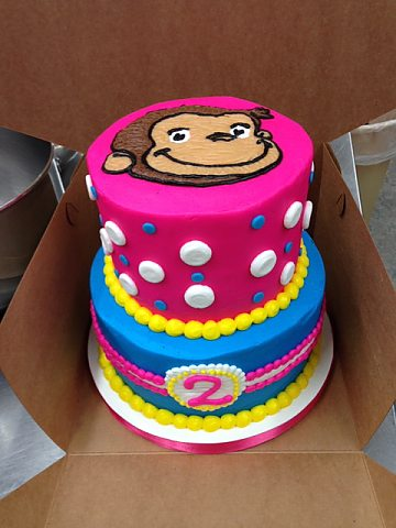 Birthday - 2 tier curious george pink
