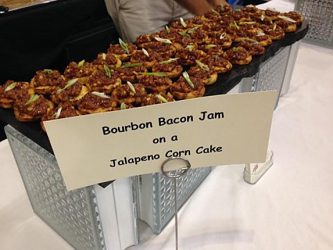 Bourbon Bacon Jam on Jalapeno Corn Cake