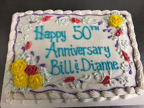 50th Anniversary Sheet cake