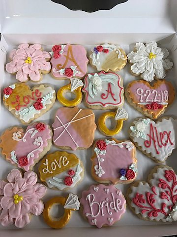 cookies - bridal shower blush and gold