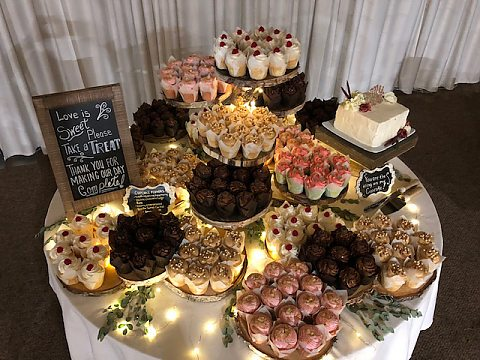 Elevated Wood Slab Cupcake Display