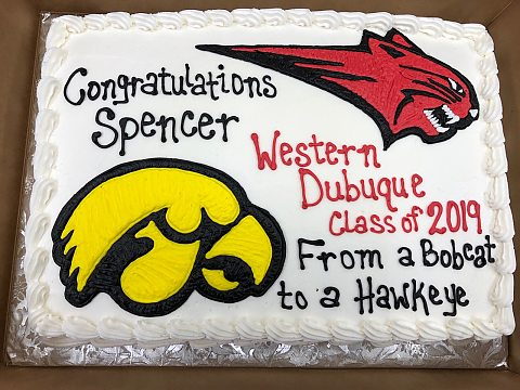 graduation cake - western dubuque and hawkeye
