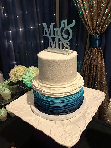 sparkles with navy ombre buttercream