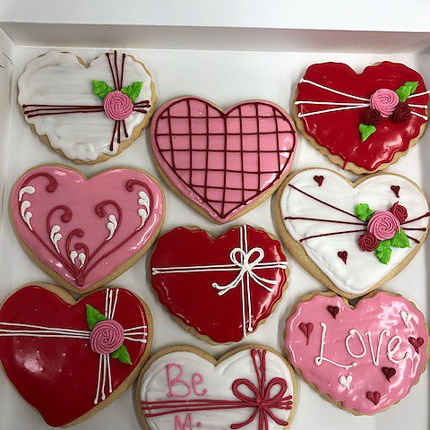 Valentine's day cutout sugar cookies